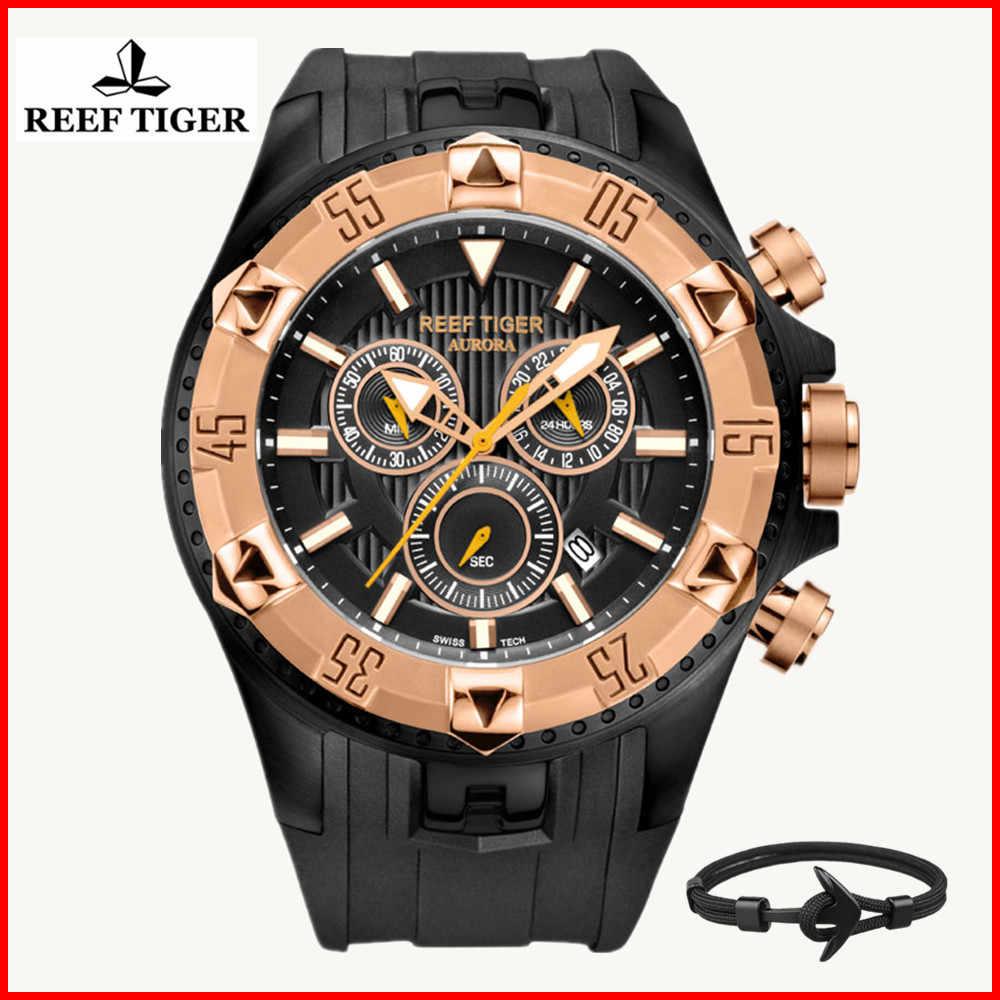 שונית נמר מותג גברים של יוקרה שוויצרי ספורט שעונים סיליקון קוורץ סופר גרנד הכרונוגרף סופר בהיר שעון relogio masculino