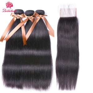 Beau Peruvian Straight Hair Extensions With Closure 4*4 2/3 Bundles Human Hair Weave With Lace Closure Non Remy Natural Color