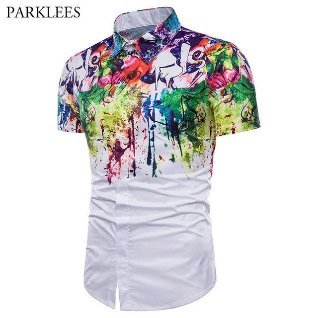 044f91c368ab Mens Colorful Ink Splash Paint Shirt Fashion Design Slim Fit Lapel Shirt  Men Leisure Street Party Short Sleeve Chemise Homme 3XL