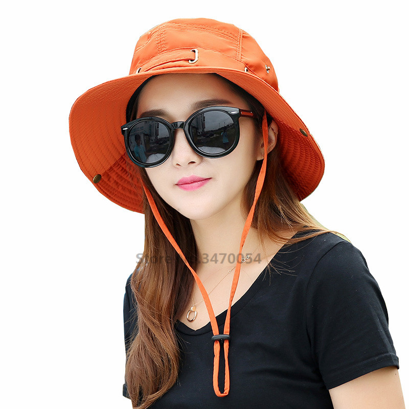 9d987ca74a9a2 New Fashion Women Summer Sun Hats Men Fisherman Hat Women Sunscreen Caps  Bucket Hat Wide Large Brim Anti UV Holiday Beach Cap-in Sun Hats from Men s  ...