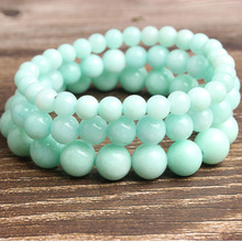 LanLi 6/8/10mm Fashion natural Jewelry green Amazon beads bracelet be fit for men and women  Accessories amulets