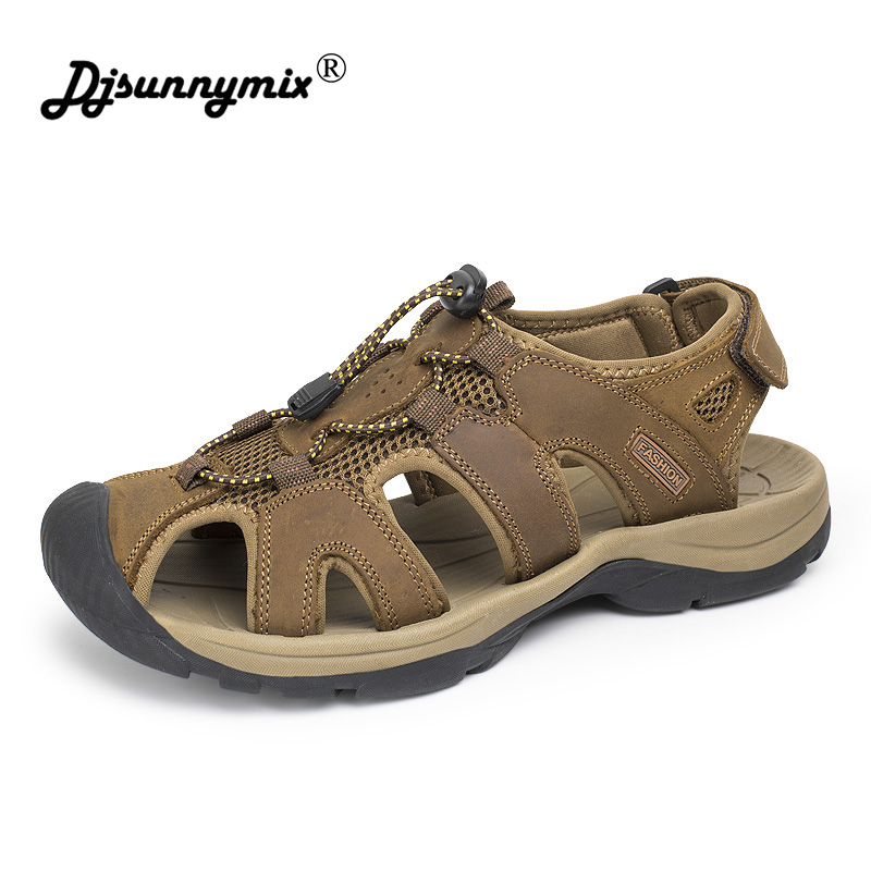 DJSUNNYMIX Plus Size 38-47 New Men Sandals Genuine Leather Summer beach Shoes Men Slippers Outdoor Walking Casual Sandal Shoes