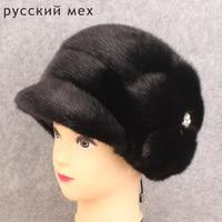 Genuine Whole Mink Fur Hats Women Fashion Fur Beanies Luxury Fur Caps With Flowers for Russian Winter Fur Hat PYCCKNN MEX