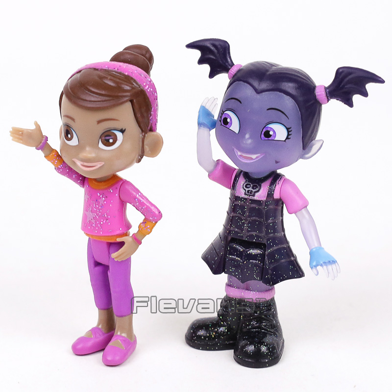 Junior Vampirina The Vamp PVC Action Figures Toys for Girls Christmas Gift 8cm 2pcs/set hot 9pcs lot anime junior vampirina the vamp batwoman girl action toy figure pvc model toys for kids christmas birthday gift hot