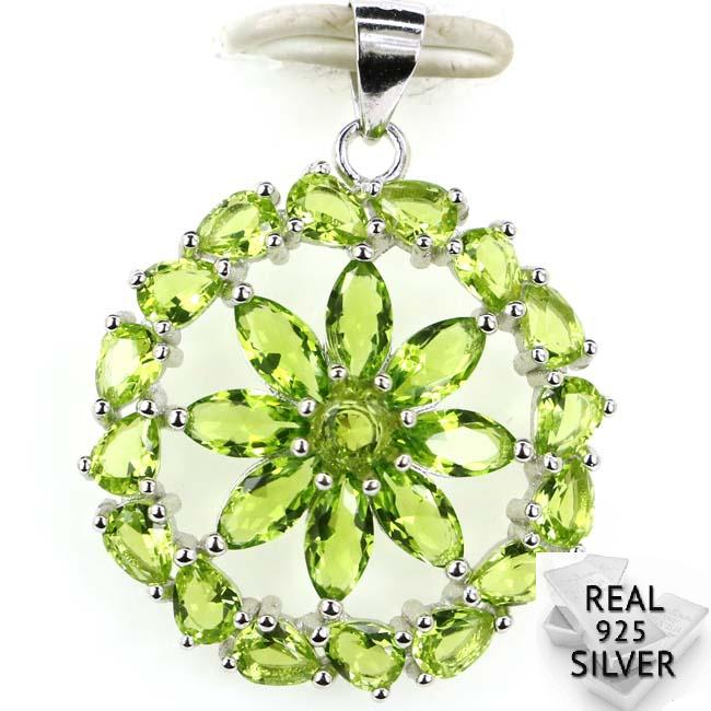 Guaranteed Real 925 Solid Sterling Silver 2.8g Luxury Round Shape Green Peridot CZ Ladies Pendant 29x23mmGuaranteed Real 925 Solid Sterling Silver 2.8g Luxury Round Shape Green Peridot CZ Ladies Pendant 29x23mm