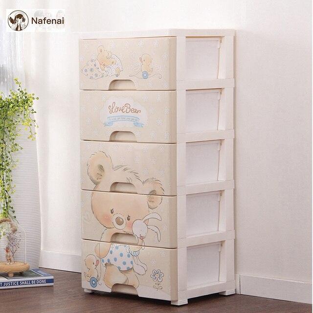 DIY Plastic Storage Drawer Storage kids room storage Organizer With WheelsCar Cute toon Bear box for toys underwear organizer