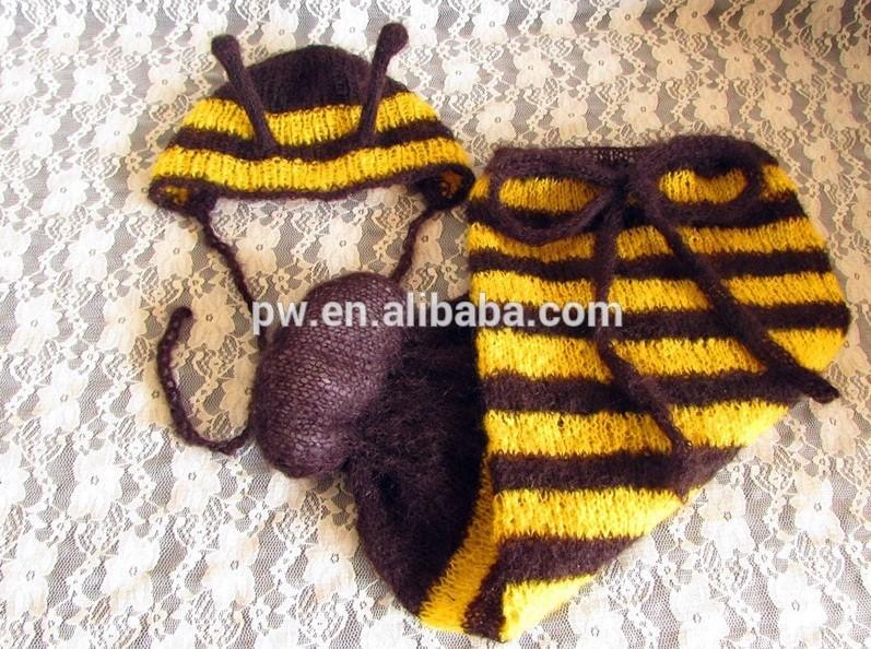 Appena nato Photo Prop Knit Swaddle Coperta e Ape Cappello Dell ... 16542a128380