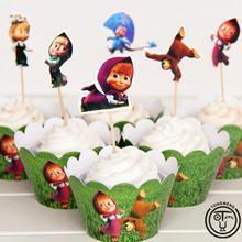 24 шт.(12 шт. обертка+ 12 шт. Топпер) Россия Маша кекс обертка День рождения украшения сувениры