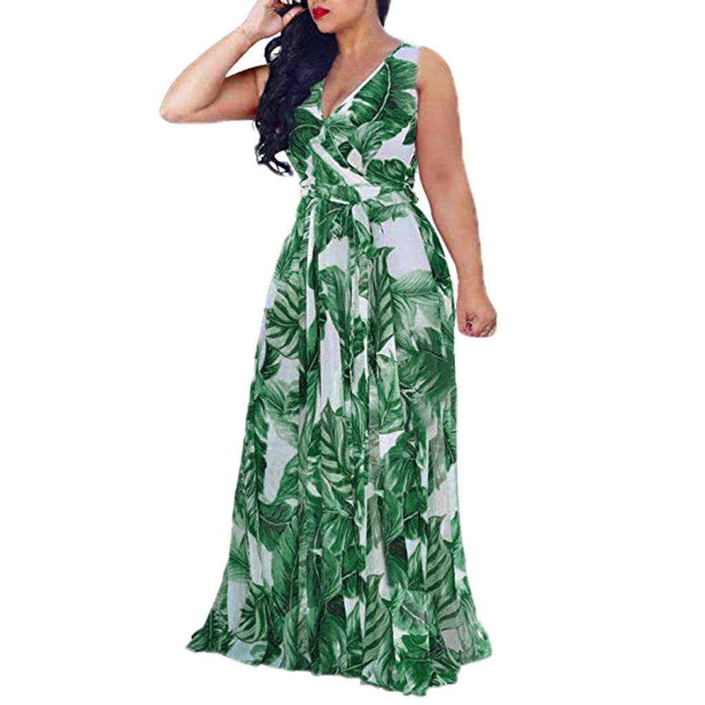 HTB1 Y.9X81D3KVjSZFyq6zuFpXam Bohemian Floral Print Long Dress For Women Plus Size Sexy Deep V Neck High Waist Bandage Bow Tie Maxi Sundress Pleated Vestidos
