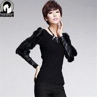 T Shirt Women Europ Women S New Real Rabbit Fur Baroque Long Sleeve Lace PU Leather