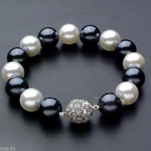 Livraison gratuite > > > > naturel 10 - 11 mm mer au sud noir blanc perles multicolores bracelet 7.5 - 8 polegada