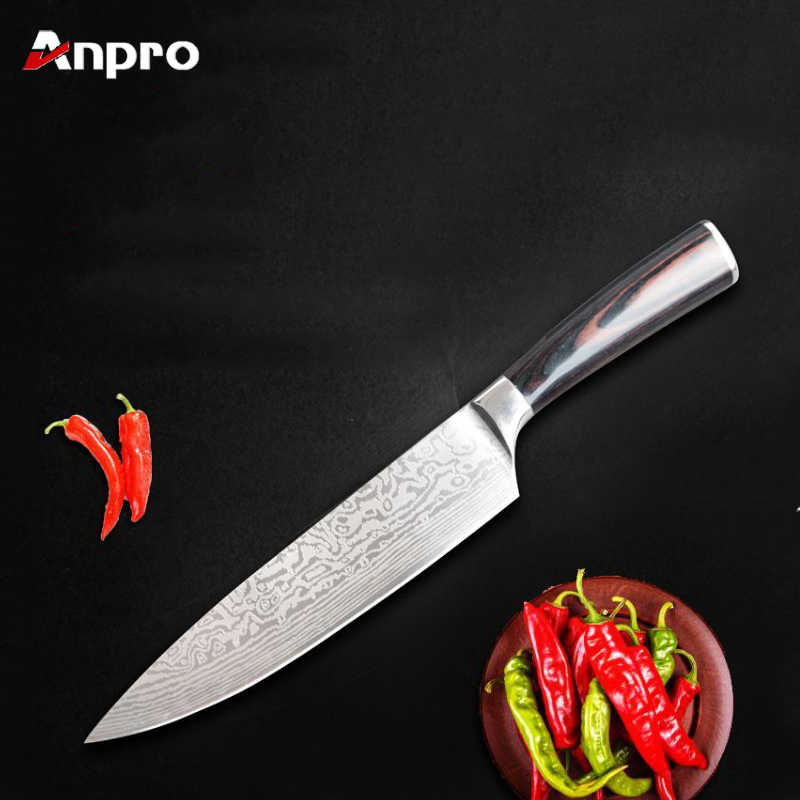 Anpro Kitchen Knives Stainless Steel Damascus Wooden Handle Fruit Vegetable Meat Utility Knife Chef Cooking Tool Accessories