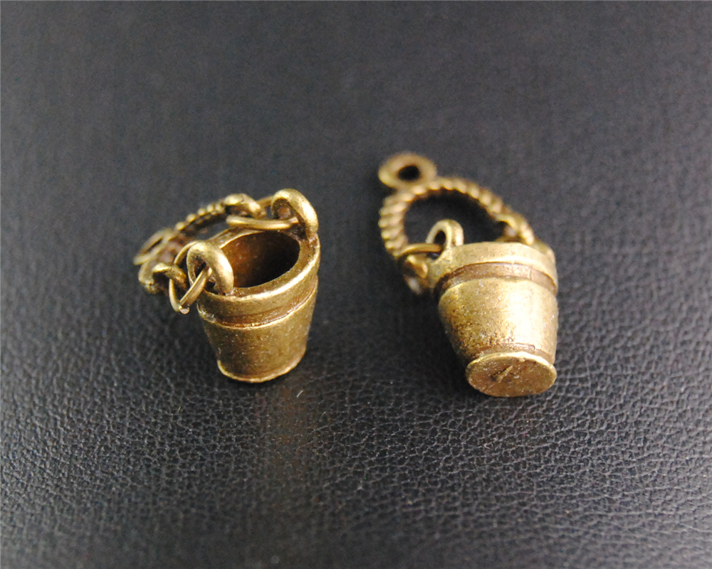 10pcs Antique Bronze Bucket Charm Fit Bracelets Necklance DIY Metal Jewelry Making 25x11mm A2094