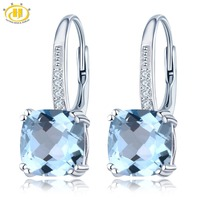 Hutang 8mm Sky Blue Topaz Drop Earrings Natural Gemstone 925 Silver Fine Elegant Classic Jewelry for Women's Girl Best Gift New