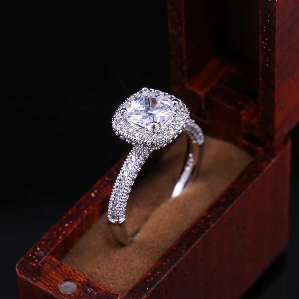 Huitan Frauen Engagement Ring Mit Sparkly Cubic Zirkon Jahrestag Vorhanden Für Frau Großhandel Ring Finger Schmuck Femme