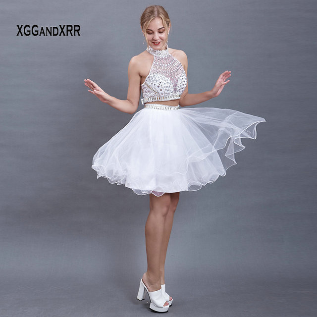 White A-Line Two Pieces Prom Dresses 2019 Sexy Halter Crystal Short Tulle Party Gown For Graduation Date Girls Homecoming Dress