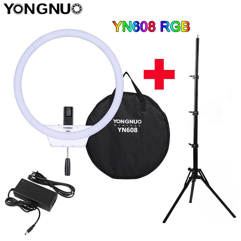 YONGNUO YN608 RGB LED Video Light Photography Video Ring Light 5500K RGB Full Color with Remote