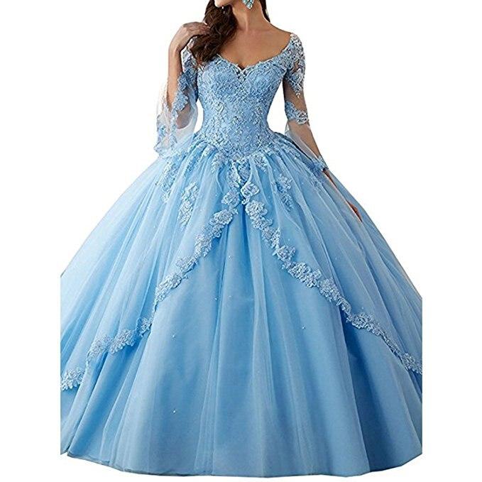 BridalAffair Classic Long Sleeve Lace orange Quinceanera Dresses Train V Neck Ball Prom Gowns