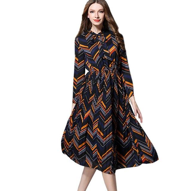 2017 New Spring Casual Dress Women European Fashion Long Sleeve Vintage Contrast Striped Bohemia Holiday Beach Dress Vestidos