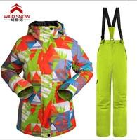 2016 Womens Ski Suit Female Snowboarding Suit Snow Suit Geometric Ski Jacket And Yellow Green Ski