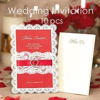 10 Adet Romantik Tarzı Şerit Delicated Oyma Düğün Davetiye Doğum Günü Partisi Olay Kartları Hediyeler Malzemeleri 3