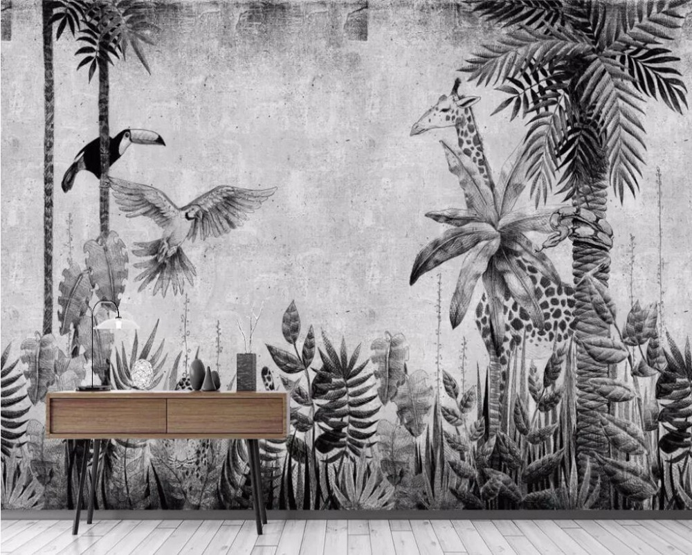 Beibehang Custom Wallpaper Mural Medieval Hand-painted Tropical Rainforest Plant Landscape TV Background Wall Mural 3d Wallpaper