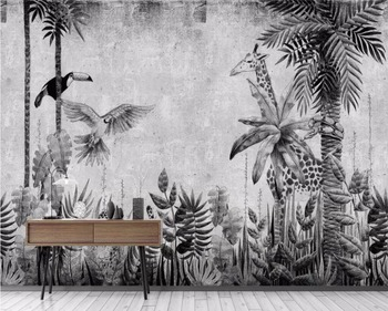 Beibehang Custom wallpaper mural medieval hand-painted tropical rainforest plant landscape TV background wall 3d