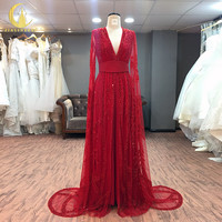 JIALINZEYI Real Sample Image Red Long Sleeves Full Luxurious Beads Crystal V Neck High quality Fromal Dresses Evening Dresses