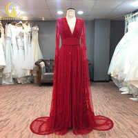 JIALINZEYI imagen de muestra Real rojo mangas largas de lujo completo cuentas de cristal cuello en V de alta calidad Fromal AJ008 vestidos de noche