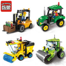 City Construction Road Roller Forklift Truck Tractor Sweeper LegoINGs Building Blocks Sets Playmobil Bricks Toys for Children(China)