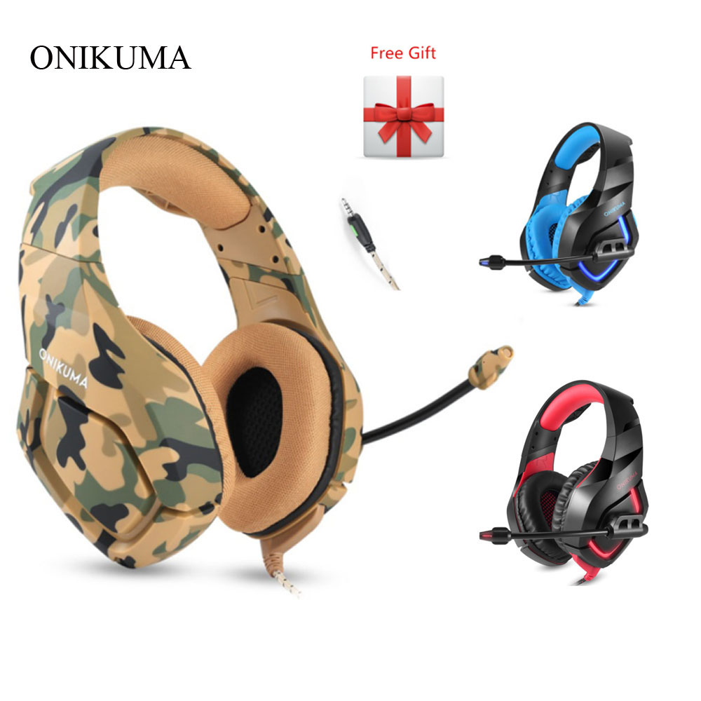 ONIKUMA K1 Camouflage PS4 Gaming Headsets Wired Deep Bass Headphones Casque with Microphone for New Xbox One Laptop PC Gamer titanium ring