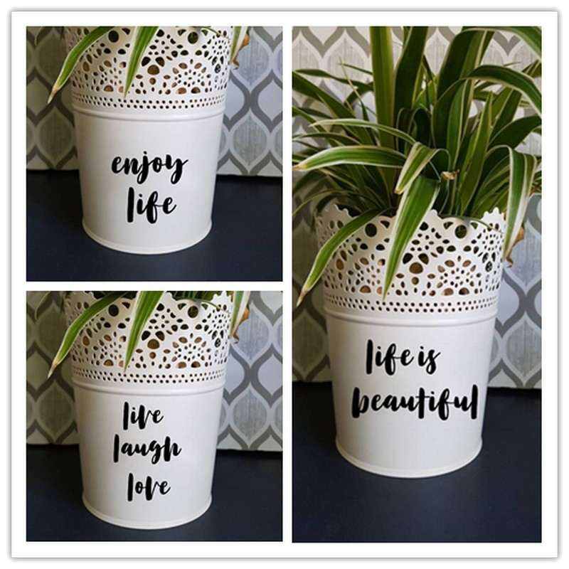DIY Pot Planter Decal Plant Name Decal Planter Pot Decal Personalized Decal