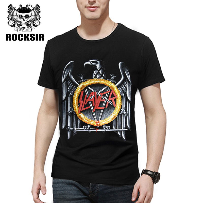 Rocksir 2017 hot sale the band men's   t  -  shirt   the slayer Speed Metal   t     shirt   men punk clothing summer high quality streetwear