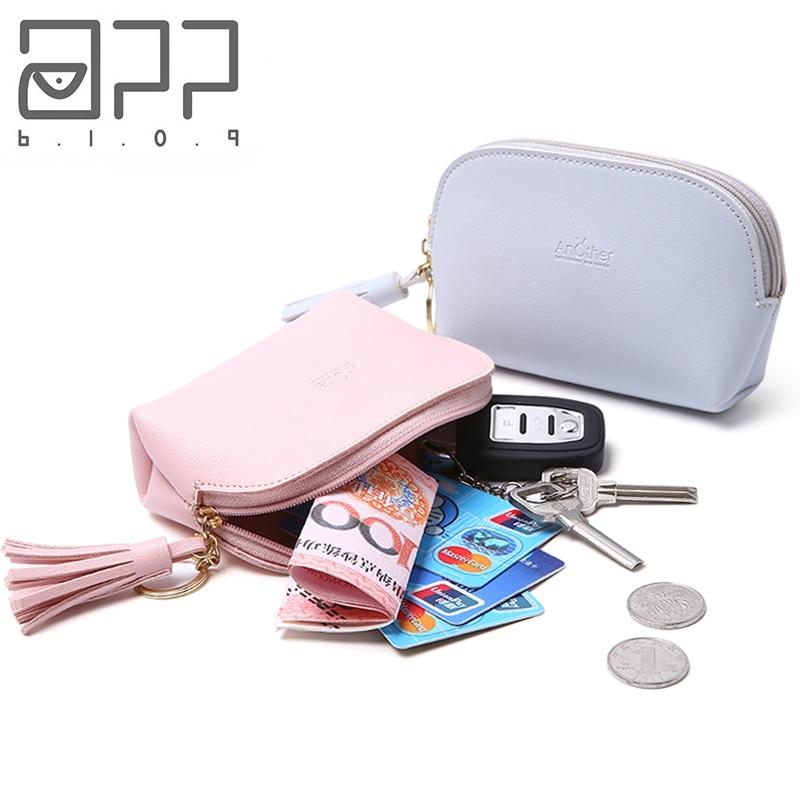 bdeaf65505e US $1.48 25% OFF|APP BLOG Cute Cat Women's Coin Purse Fashion Mini Small  Leather Female Keys Card Cash Bag Wallet Tassel Leave Keychain For Girl-in  ...