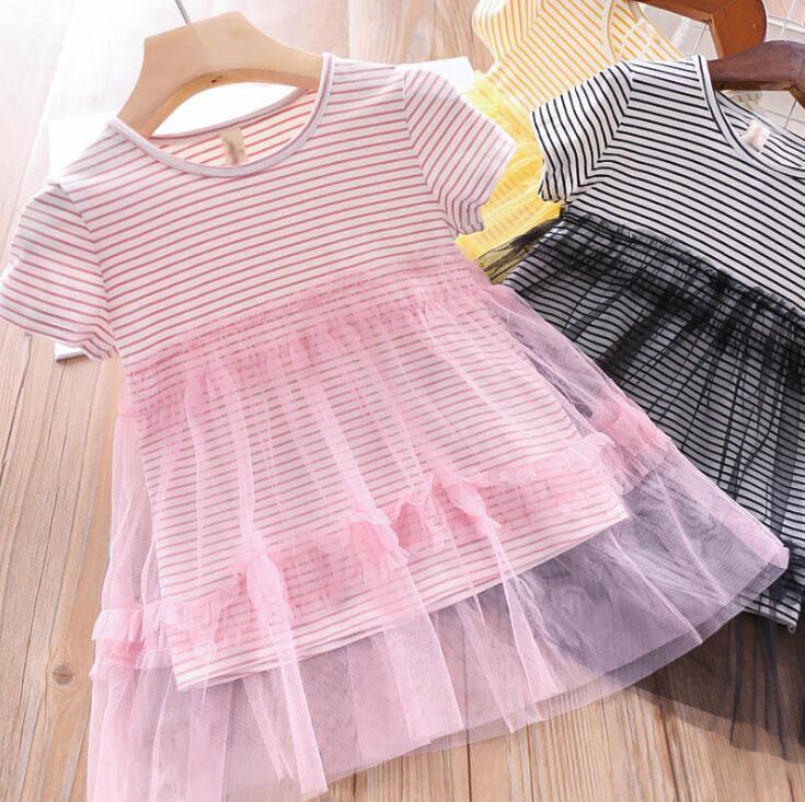 2019 Summer Baby Girls Cotton Striped Mesh Dress Princess Kids Cute Dresses 5 pieces lot Wholesale