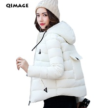 QIMAGE 2017 New Winter Women Parkas Fashion Short  Down Jacket Female Slim Thick Warm Parkas Women Jackets Large Size M-XXXL