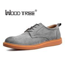 Woodtree 2018 Hot Sale Mode Pria Suede Kulit Sepatu Kasual pria musim semi musim gugur pasang merek Desainer Pria Sepatu Kasual Lace Up Sho