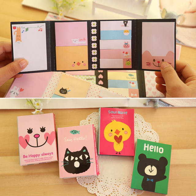 Lindo Oso de Dibujos Animados Del Gato Animal Memo Pad Sticky Post it nota Papelería Coreana Kawaii Paper Sticker for kids Envío gratis 10009