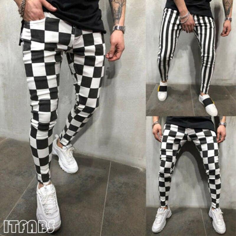 2019 New Brand Fashion  Summer Men's Fashion Casual Slim Pants Comfortable Stretch Striped Plaid Pants US