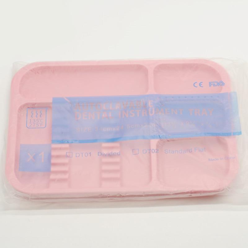 1 шт. стоматологическая клиника пункт разделенный отдельный тип лоток пластиковый инструмент Автоклавный - Цвет: 1Pcs Pink