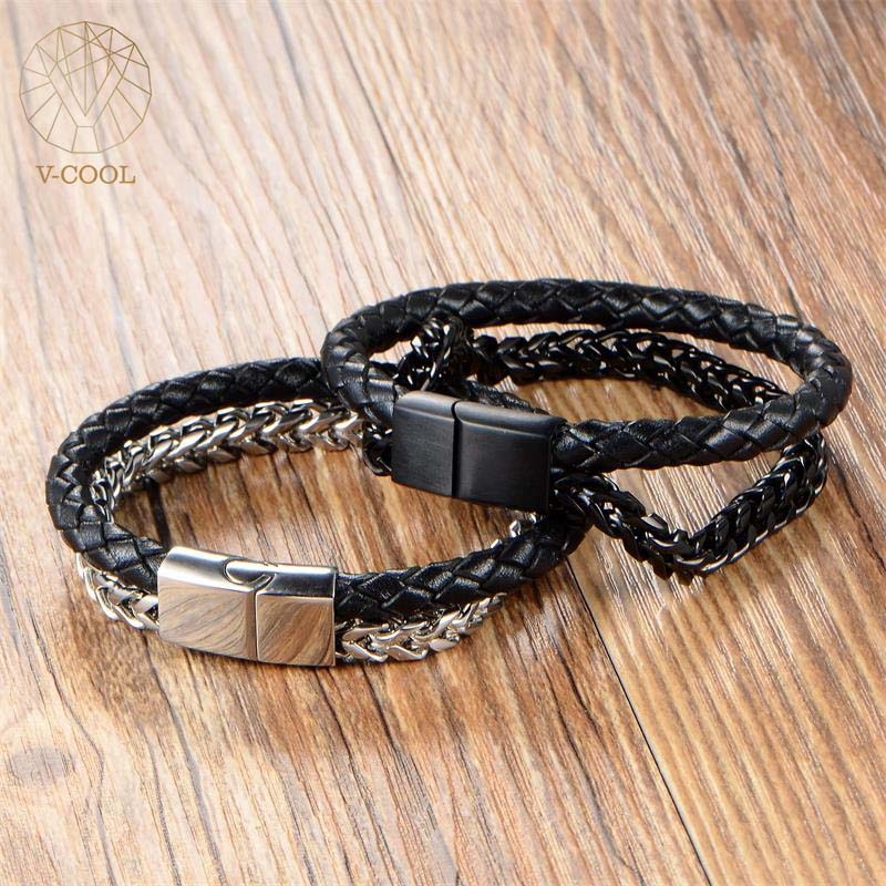 Handmade Genuine Leather Bracelet L Stainless Steel Weaved Double Layers Man Bracelets