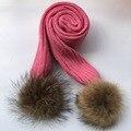 150*16 см крючком Дети Шарф шерсть Вязаный Зимние Меховые Шарфы С Съемный Натуральный Мех Енота Пом Англичане neckwarmer шарф