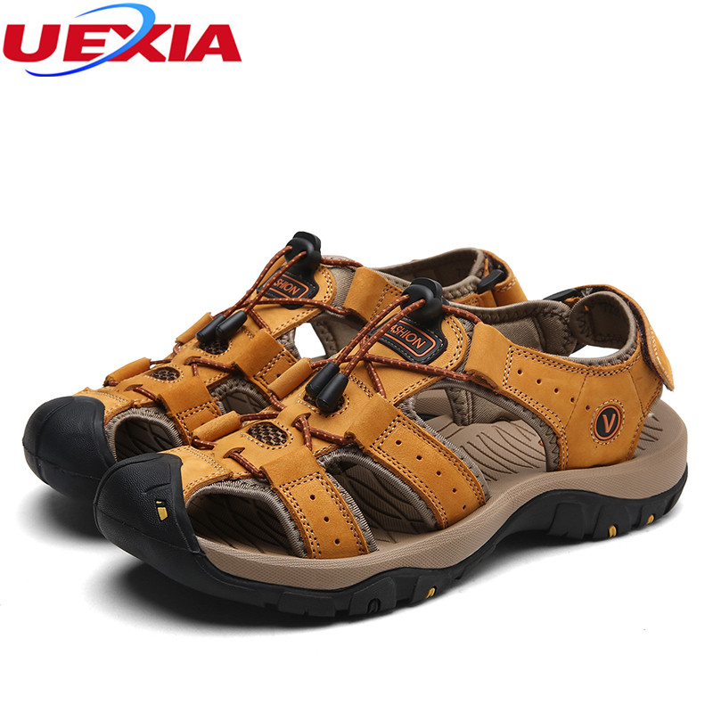 597117452578 UEXIA Sandals For Men Durable Summer Shoes Breathable Leather Unisex ...