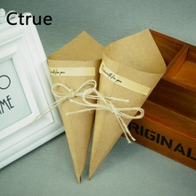 50pcs/lot 15cm*15cm Kraft Paper Cone Vintage chocolate Boxes rustic wedding favors and gifts vintage decoration