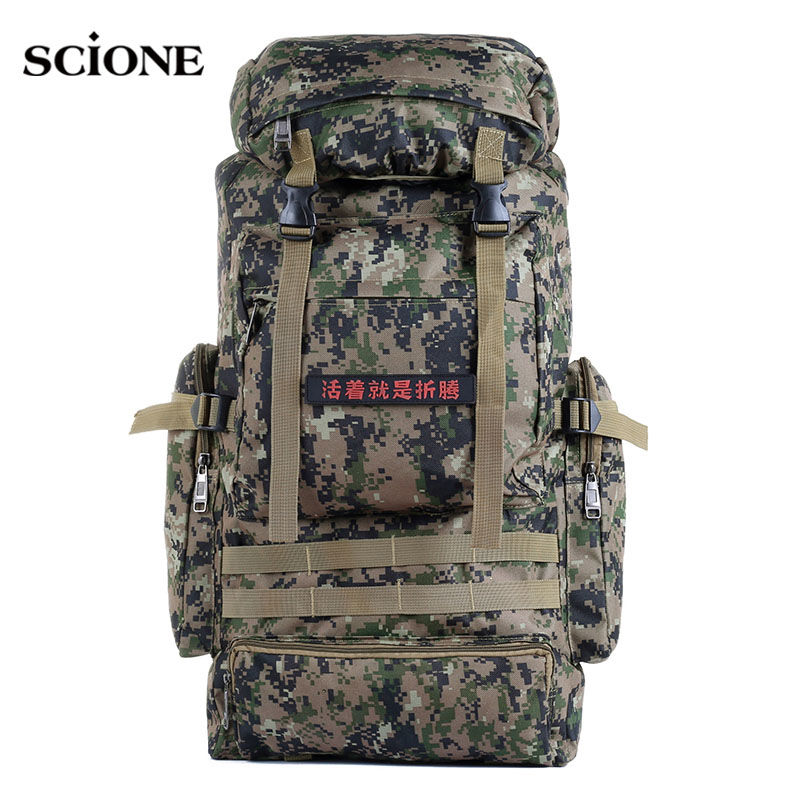 scione Waterproof Camping Backpack Military Molle Bag Tactical Men Large Travel Outdoor Sport Bag Army Rucksack 80L XA241WA 80l outdoor backpack large capacity camping camouflage military rucksack men women hiking backpack army tactical bag
