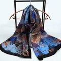 180X68 СМ женская Мода чистый шелк атласный шарф женские растения печати атлас шелковый шарф женщин новый дизайн длинные шелковые хиджабы накидки