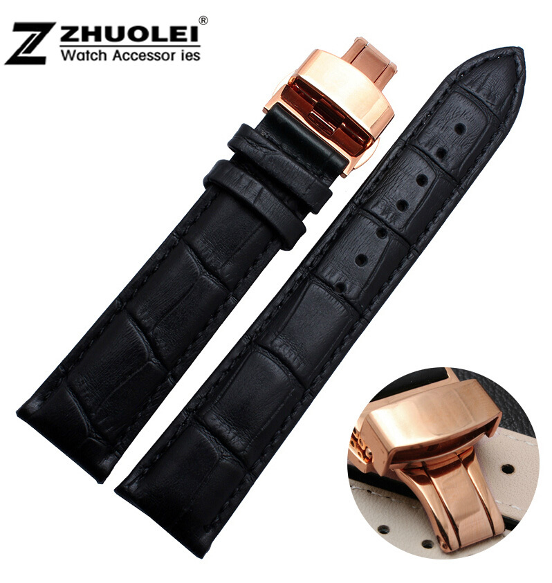 18mm 20mm 22mm Rose Gold Stainless Steel Buckle Clasp Black Genuine Leather Watch Band Bracelet Strap 12mm 14mm 16mm 18mm 20mm bright watch strap smooth leather band black gold steel department clasp for fashion brand watches