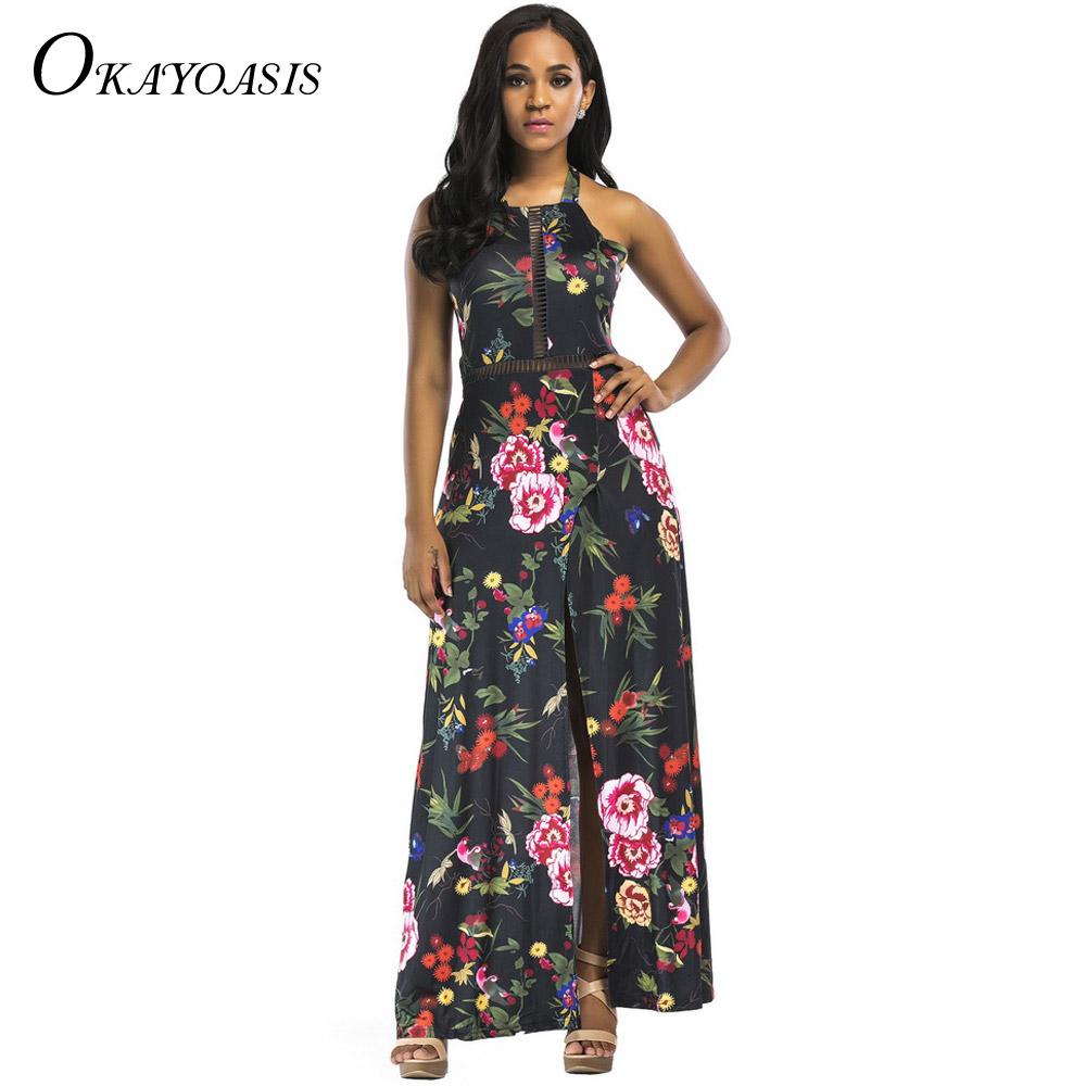 OKAYOASIS 2018 Women Sexy Split Dress Floral Print Empire Backless Halter  Maxi Dress Lady Bohemian Summer Beach Party Dress. 3. 20694 20694-1 ... f6717b0c1e51