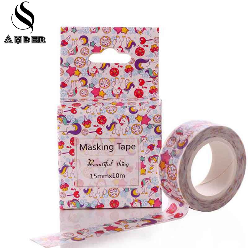 Japanese Unicorn Washi Tape DIY Craft Decor Scrapbooking Diary Sticker Masking Adhesive Paper Tape Stationery School 2018 New 2pcs original dream watercolor painting washi tape adhesive craft tape diy scrapbooking sticker masking craft tape 7m