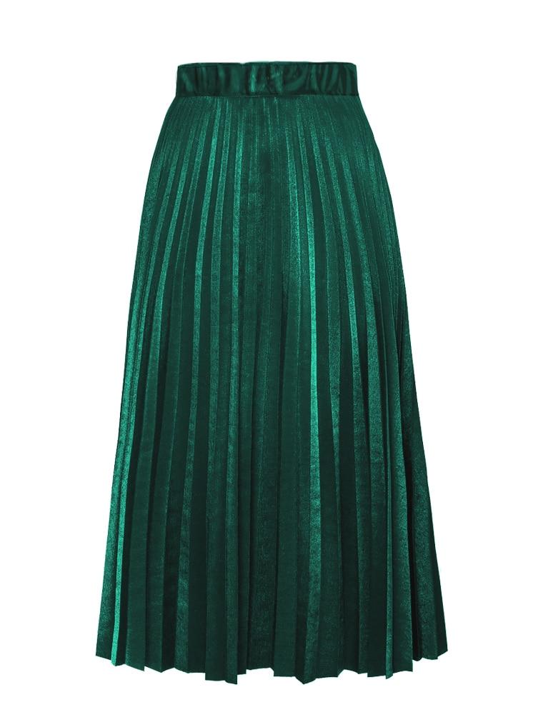 2016 Chic Vintage Woman Highwist Pleated Velvet skirt Slim Maxi skirt - Կանացի հագուստ - Լուսանկար 6